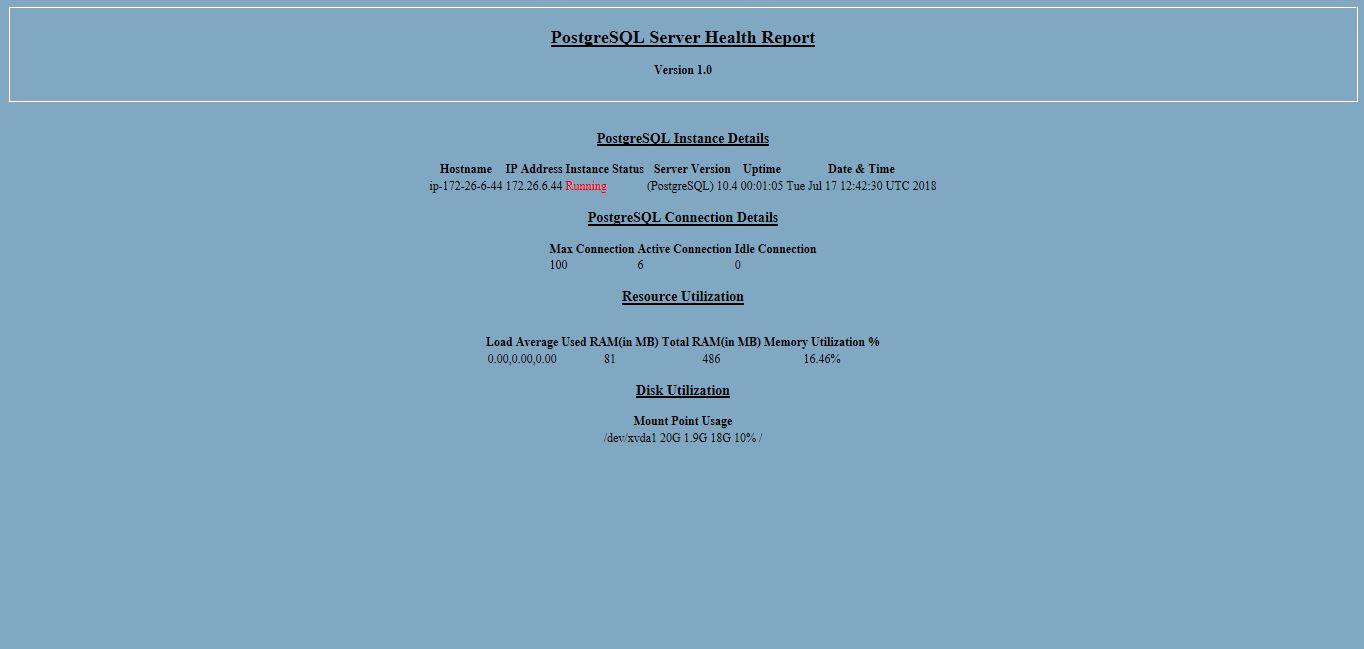 PostgreSQL Health Check Script – dinfratechsource